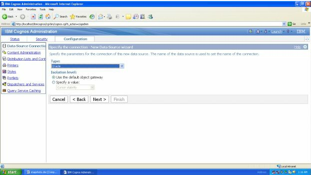 Steps To Create A Data Source Connection Through Cognos Administration Portal 6