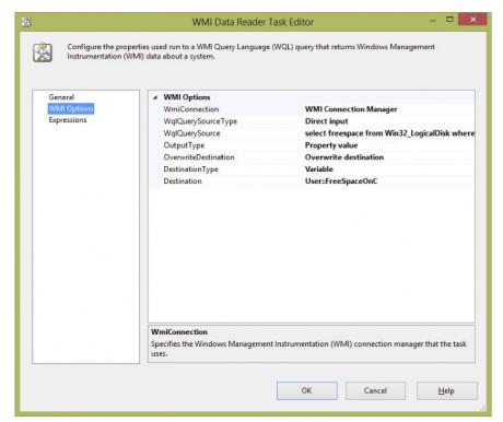 WMI Data Reader Task Editor
