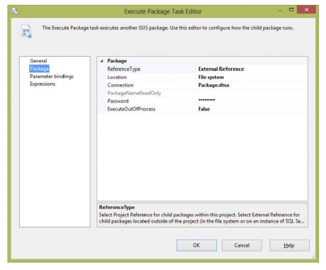 Execute Package Task Editor