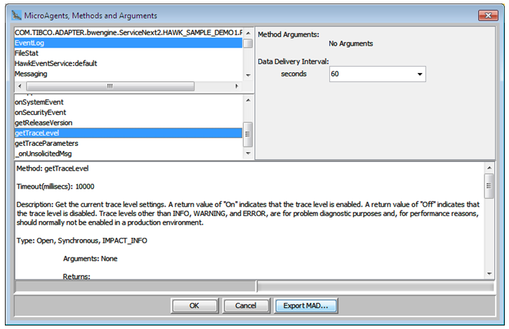 Select the TraceLevel method in EventLog microagent for logging event