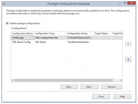 Package configuration organizer
