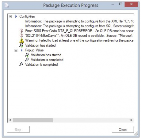 Package Execution Progress