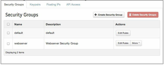 Delete Security Groups button