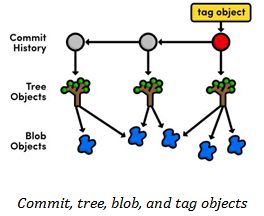commit, tree, blob, and tag objects