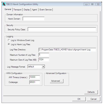 TIBCO Hawk Configuration Utility window starts up