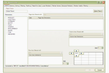EPM Report Editor selection Screen