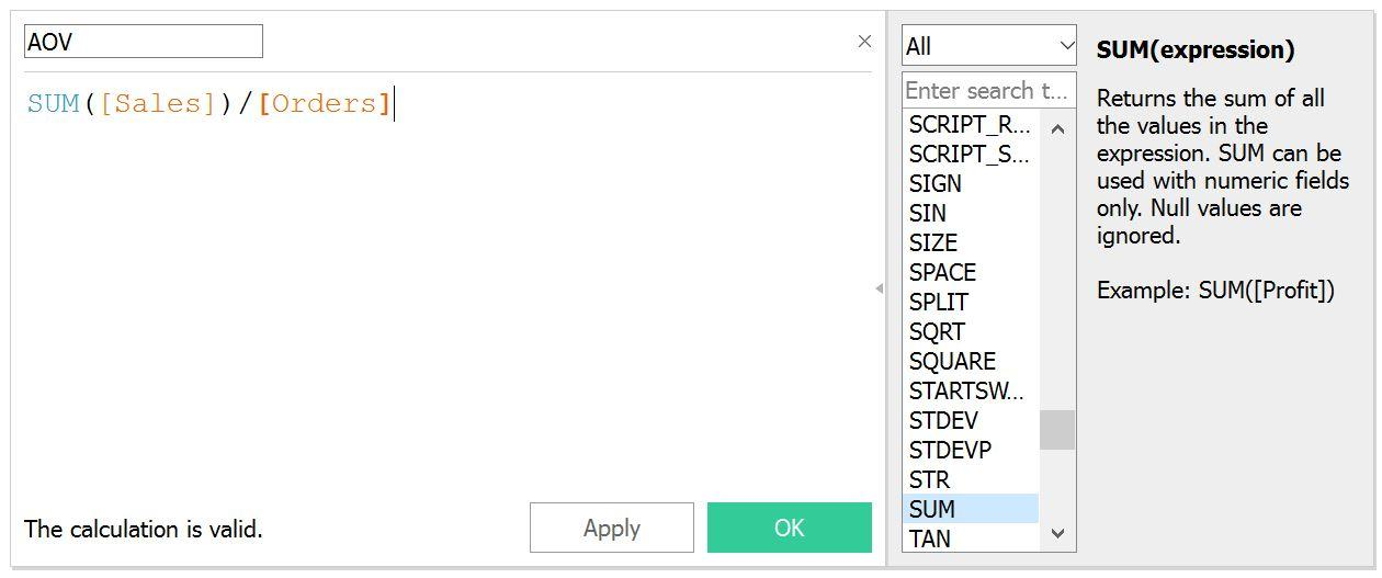 calculated field AOV