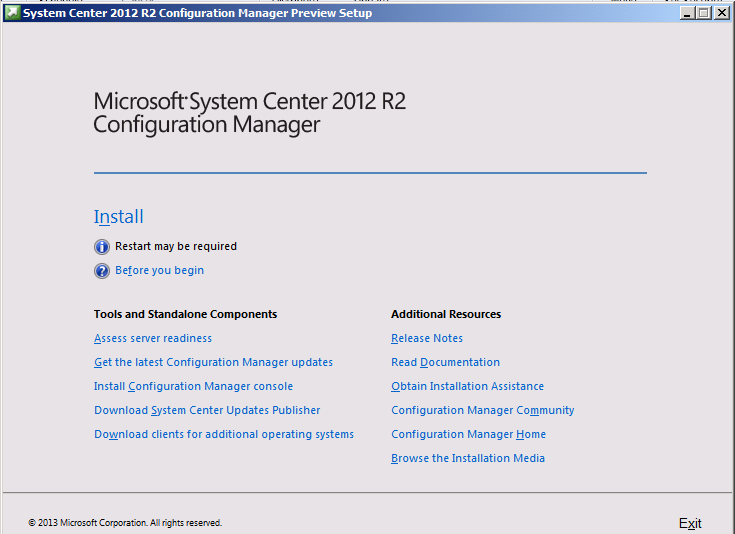System Center 2012 R2 Configuration Manager Toolkit - SetUp Preview