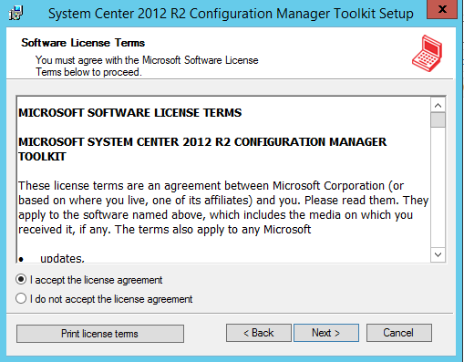 System Center 2012 R2 Configuration Manager Toolkit - Terms & Conditions