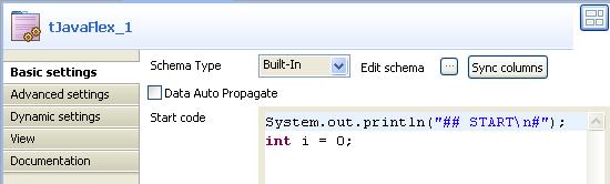 Configuring the tJavaFlex component