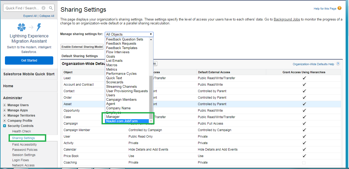 OWD default in salesforce