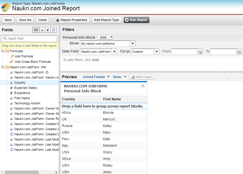 Object Forms In Joined Report