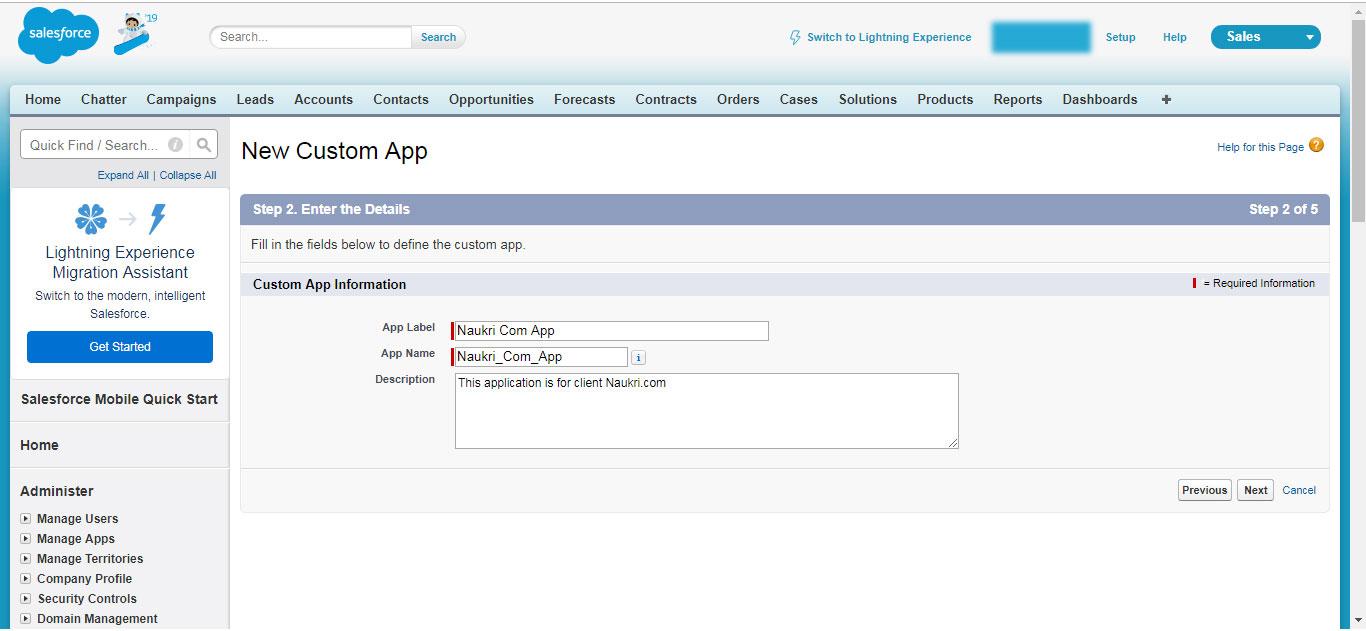 New Custom App