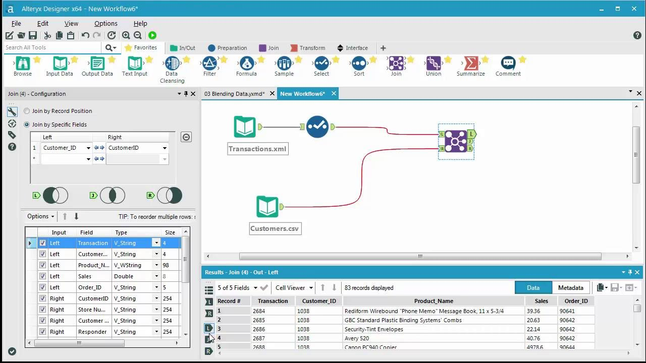 Tool Palette in Alteryx