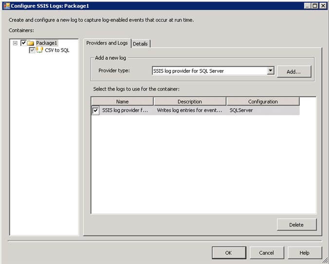 Configuare ssis logs