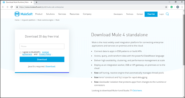 mulesoft download window