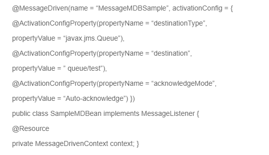 MessageDrivenBean code