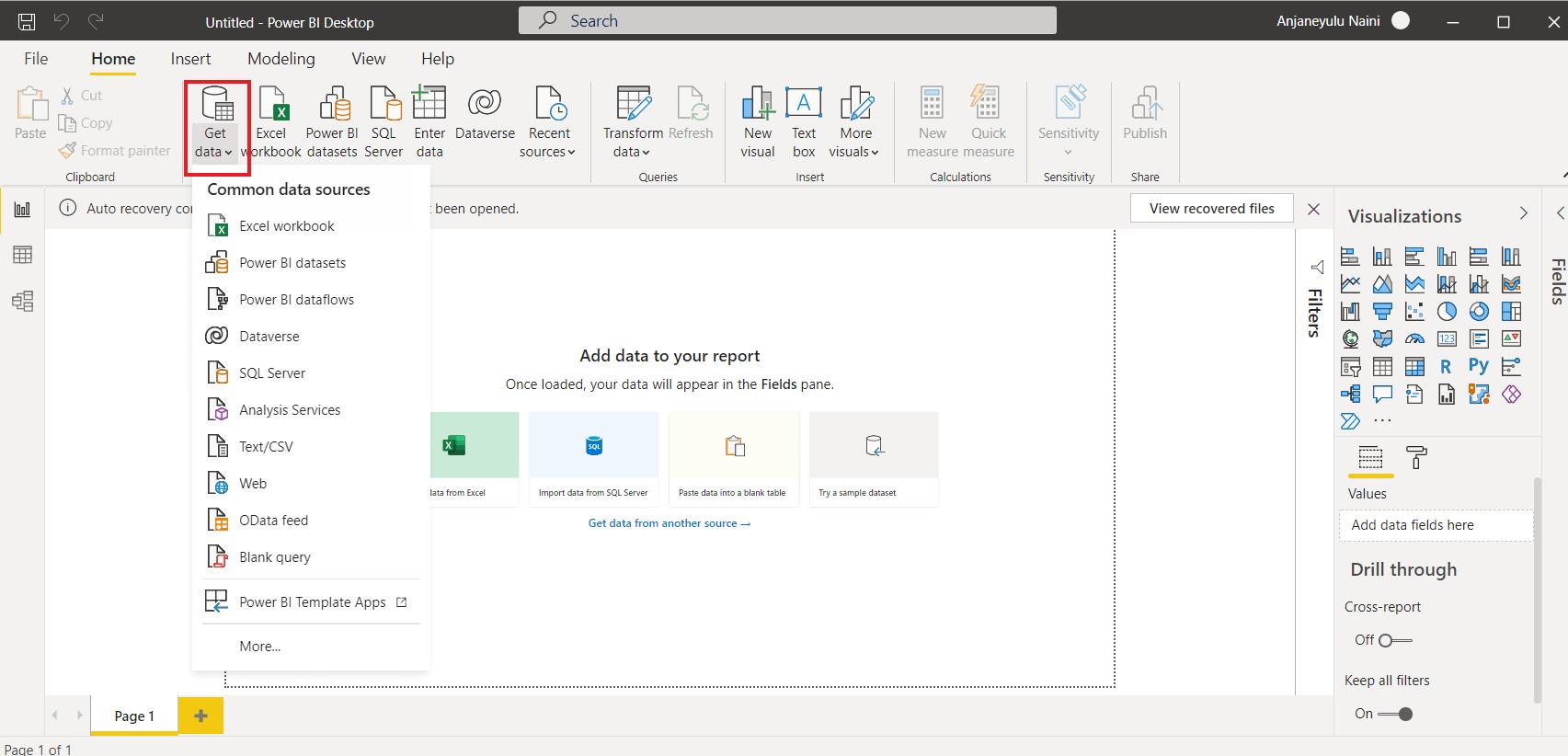 getting data into power bi