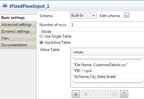 tFixedflow input