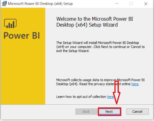 Installation Dialog Box Of Power BI Desktop