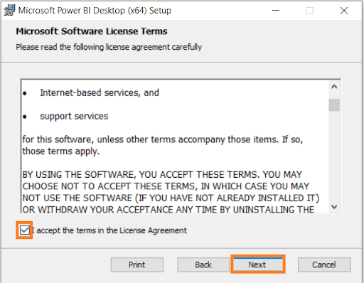 License Agreement of Power BI Desktop Download