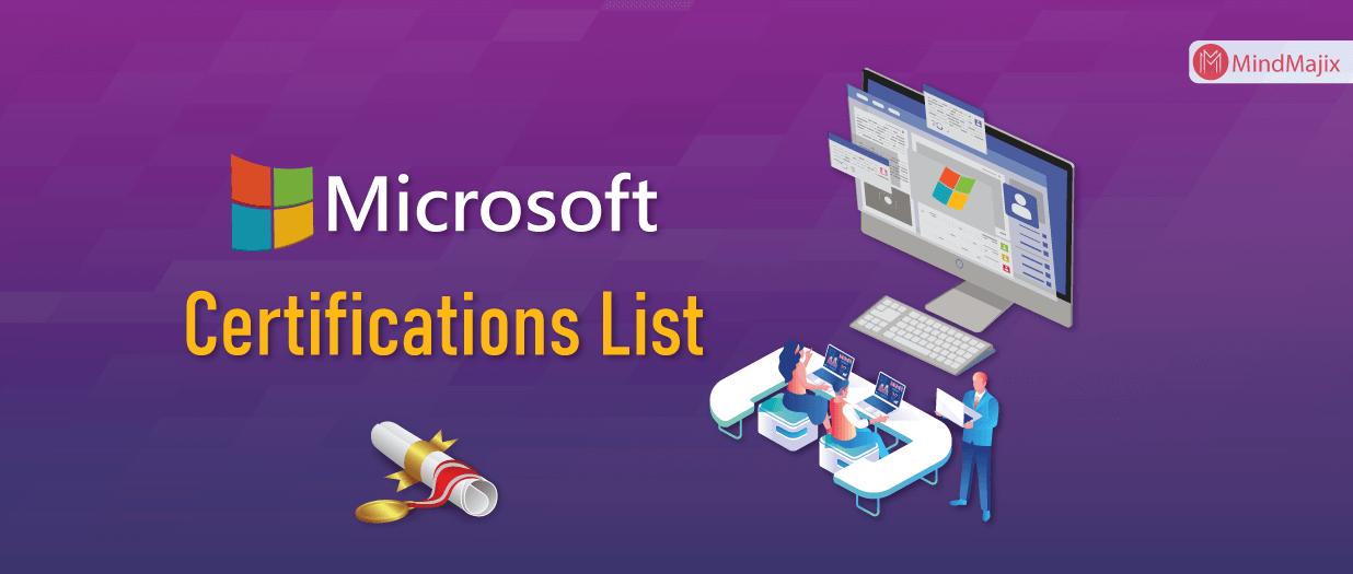 Microsoft Certification Exams list
