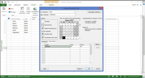 Creating Non-Working daysin MS Project