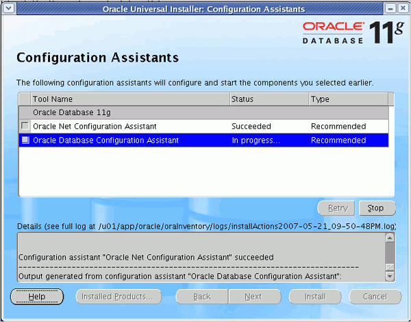 Oracle database configuration