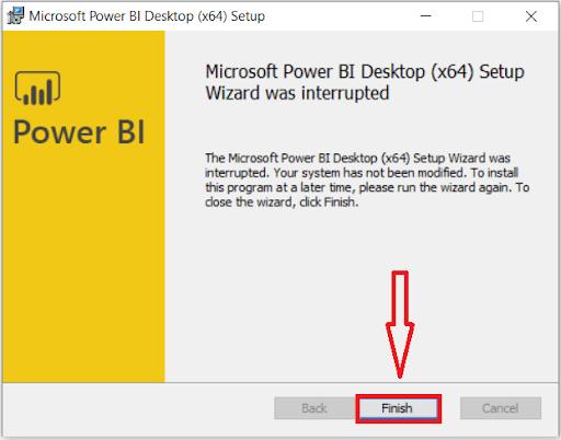Power BI Desktop Download Finishing Dialog Box