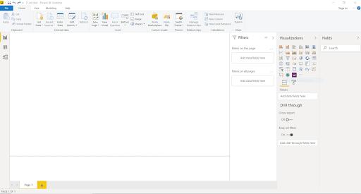Power BI Desktop Download Home Screen