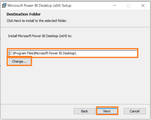 Destination Folder of Power BI Desktop