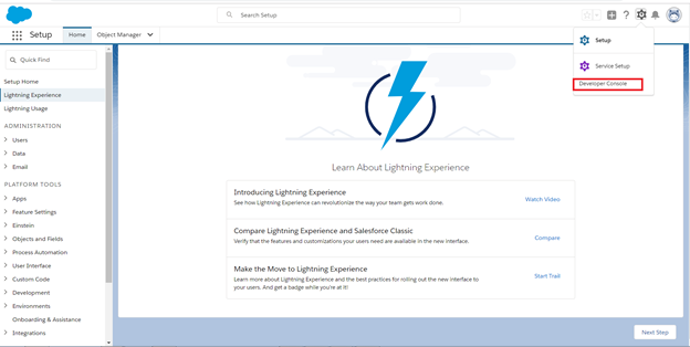 Screen Shot from the Salesforce Lightning Experience web page