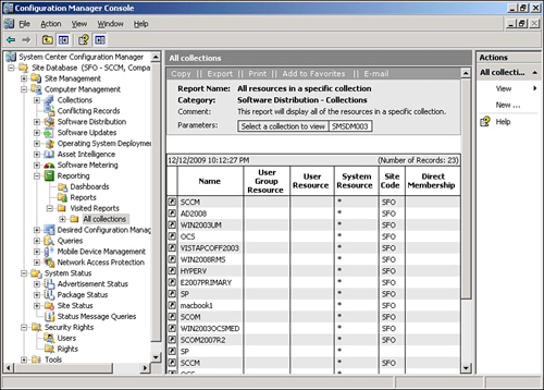 Reports tool built in to SCCM