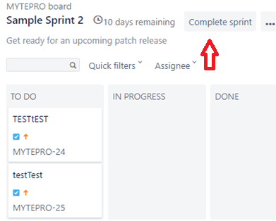Complete the sprint in jira