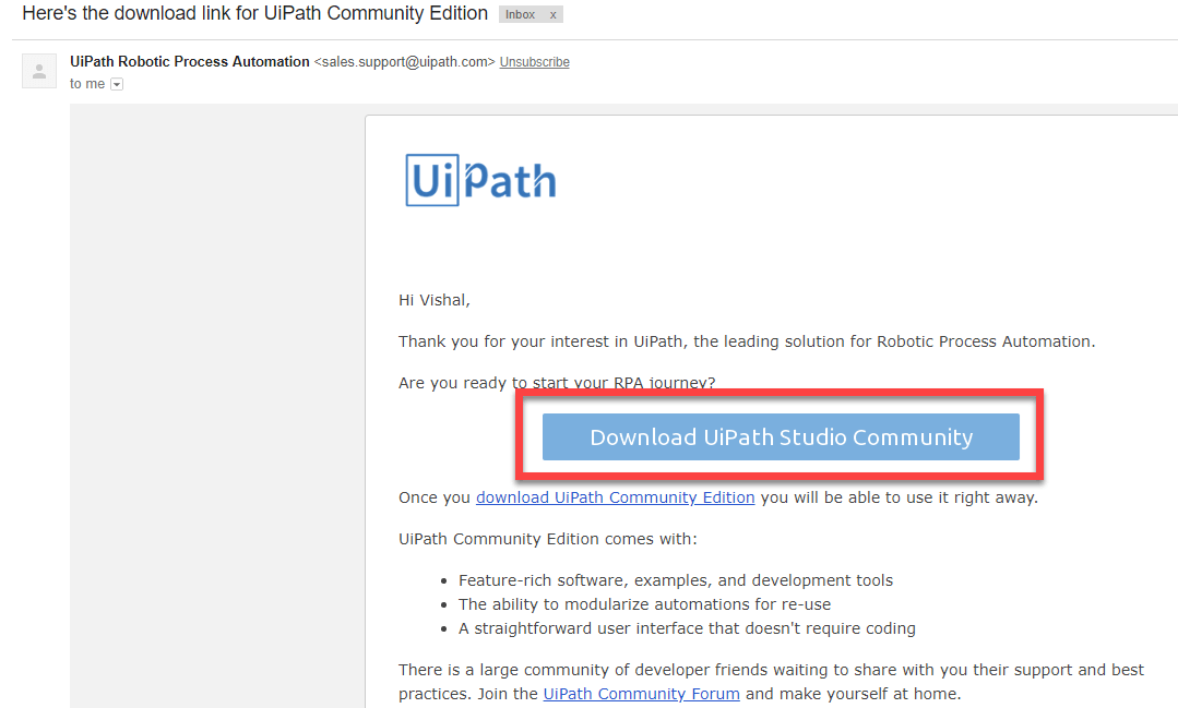 download link for UiPath Community